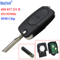 OkeyTech 433MHz 2 Button Uncut Remote Key Case Fob With ID48 Transponder Chip for Audi A3 A4 A6 Quattro 4D0 837 231 R 4D0837231R