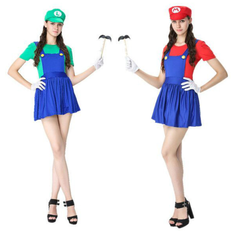 2017 New Video Game Cosplay Super Mario Bros Cosplay Costume Mario Sisters Sexy Girls Mini Dress Halloween Costumes for Women