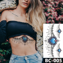 1 Sheet Chest Body Tattoo Temporary Waterproof Jewelry Heart-shaped blue sapphire lace pattern Decal Waist Art Sticker