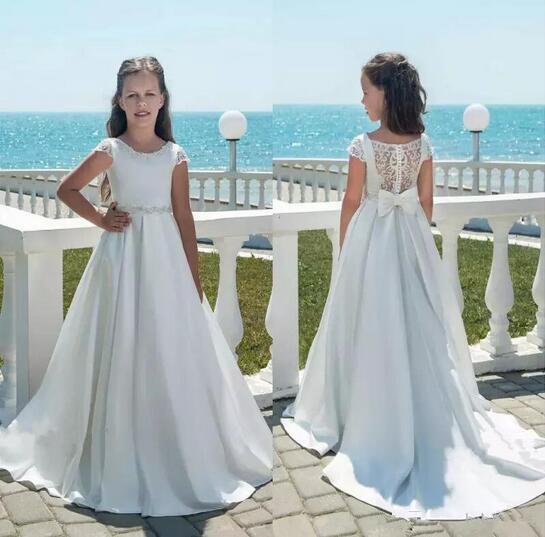 vestido daminha Flower Girl Dresses White Ivory First Communion Dress For Little Girl Short Sleeve A