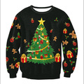Women Fashion Loose Warm Charming Sweater Chritmas Tree Printed Crewneck Pullover Blouse Casual Top Outwear Black M/L/XL