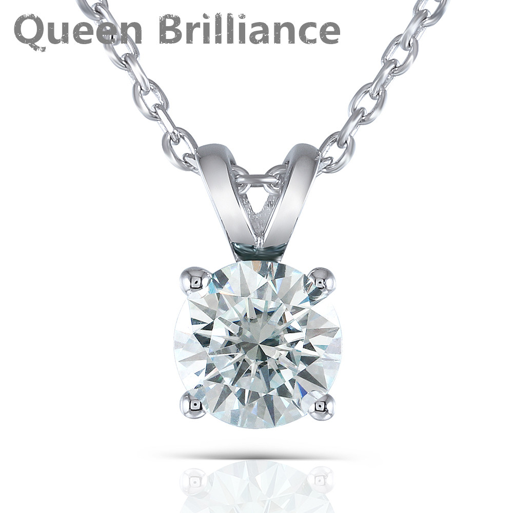 Light Blue Color Gemstone Necklace Silver 2 Carat 8mm Moissanite Round Solitare Pendant Necklace Platinum Plated Silver