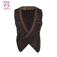 Brown Striped Satin Deep V Neck Sleeveless Vintage Steampunk Costume Men Cosplay Victorian Coat Medieval Jacket Gothic Vest Mens