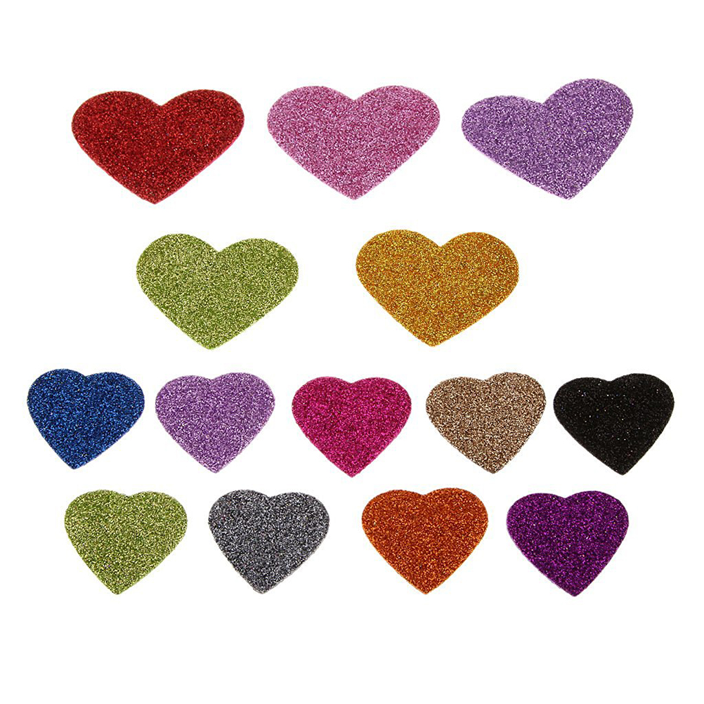 Arts and crafts supplies cheap - 45pcs Glitter Foam Heart Shape Self Adhesive Sticker For Kids Craft Mixed Color Wedding