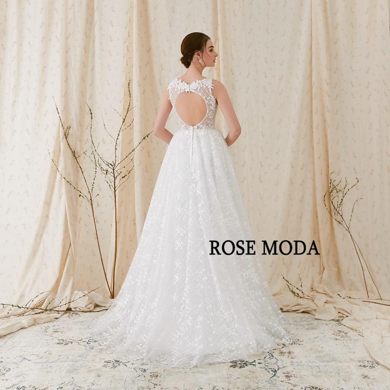Rose Moda Delicate Chantilly kanten trouwjurk 2018 Backless kanten - Trouwjurken - Foto 4