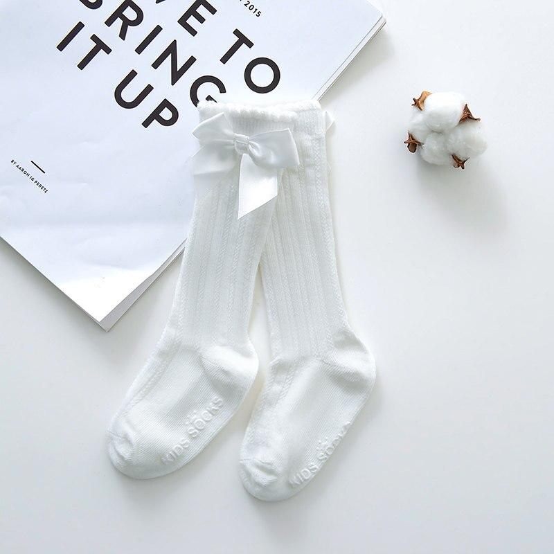Новые детские носки гольфы с большим бантом для маленьких девочек, мягкие хлопковые кружевные детские носки kniekousen meisje, Прямая поставка#30 - Цвет: bowknot white