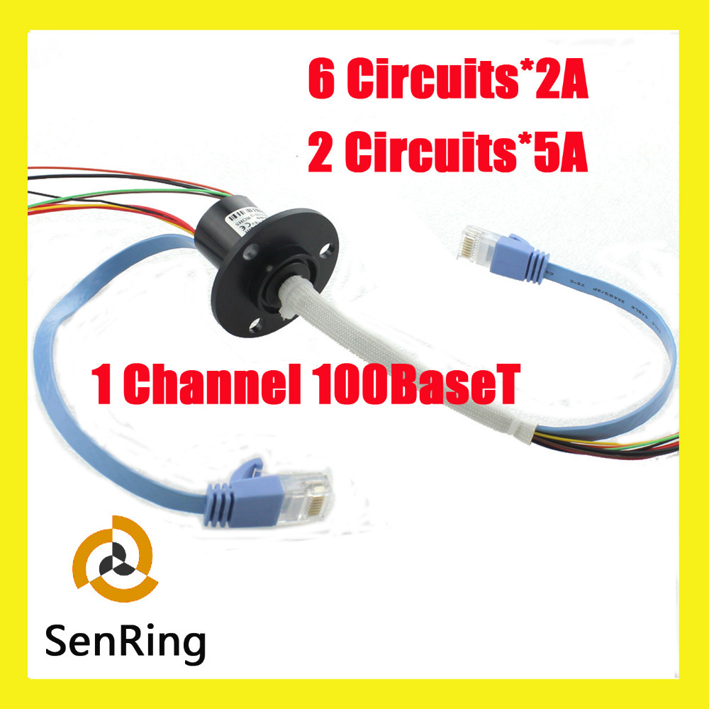 Ethernet slip ring 1channel 100BaseT 6 circuits 2A+2 circuits 5A with capsule slip ring OD 22mm mercury slip ring 1 pole 50a