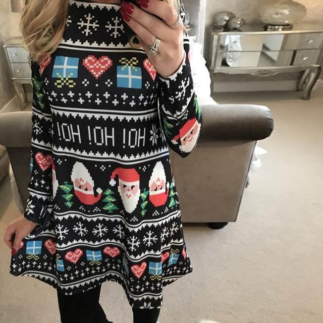 37dce2ce739f Winter Women Xmas Print Swing Dress girl Christmas Long Sleeve Flared Party  Dresses Polyester Mid Mini vintage vestidos printing