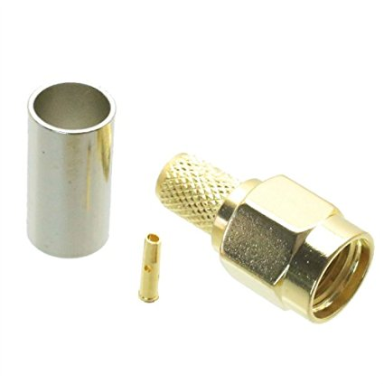 Gold plated RP SMA male jack center crimp RG58 LMR195 RG142 RG400 RF Coaxial connector adapter
