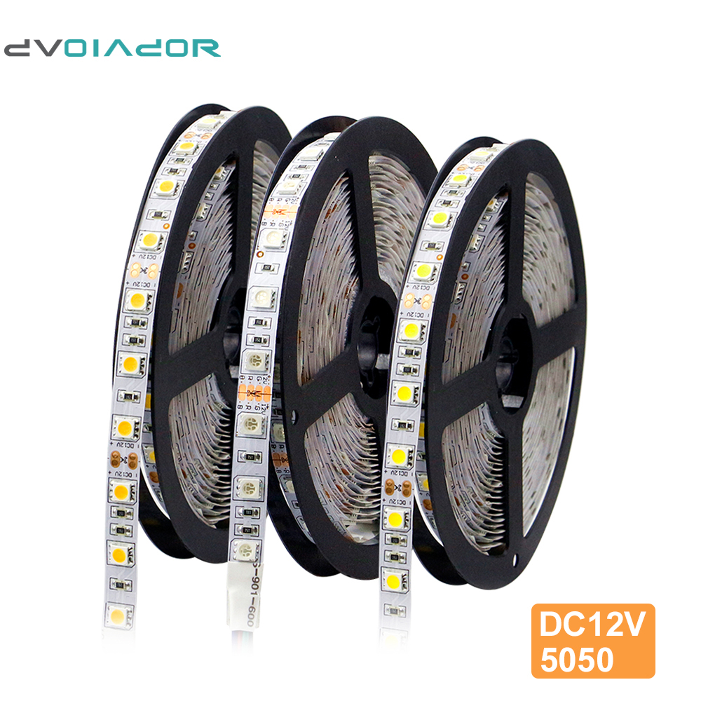 5M,5050 DC12V RGB LED Strip[DVOLADOR]5050 Flexible Strip 60LEDs/m,Indoor Decoration Light-Bright,only 5050 Led Strip Lighting