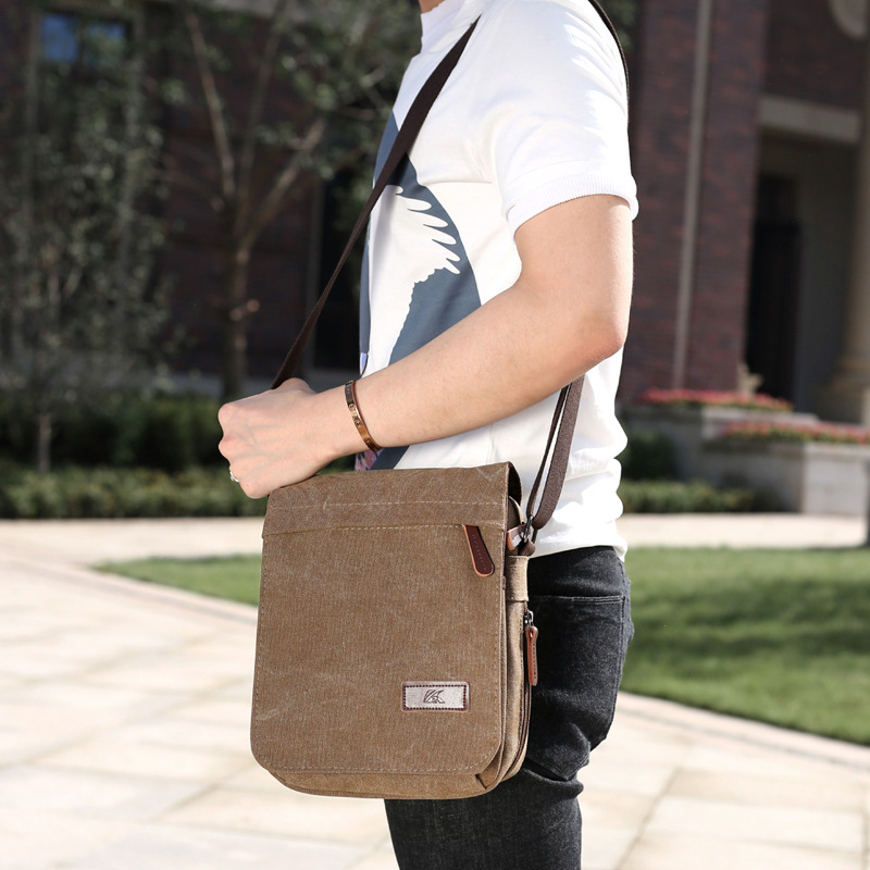 Men's Retro Canvas Single Shoulder Bag 2018 New Simple Small Satchel Sports Messenger Bag Casual Men's Bag retro british school women messenger bag embossed hollow out shoulder briefcase department of forestry casual satchel