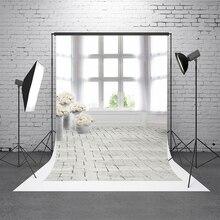 Kate Branco Interior Tijolo Parede Fundos Para Estúdio de Fotografia de Casamento Pano de Fundo Da Janela Lavável Fotógrafo Backdrop