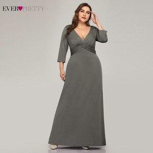 Image 4 - Artı boyutu basit gri abiye uzun hiç güzel v yaka tam kollu zarif resmi elbiseler EP07995 Vestidos De Festa 2020