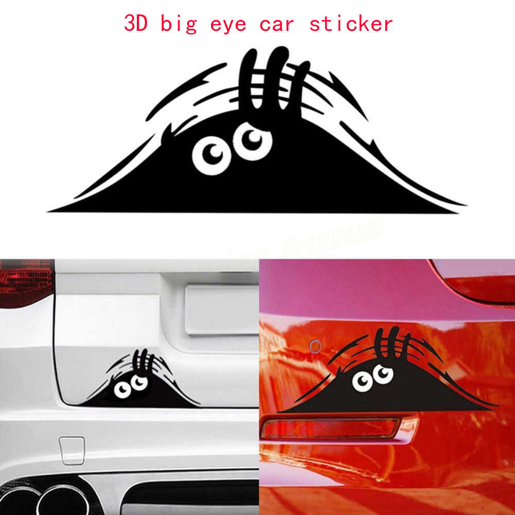 Funny Waterproof Removable Car Sticker Scratch Cover Decal Auto Decoration Funny Peeking Monster 3D Big Eyes