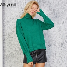 MayHall Long Sleeve Solid Knitted Pullovers Women Loose Turtleneck Split Sweater Drop Shoulder jumper Basic sueter mujer MH298 недорого
