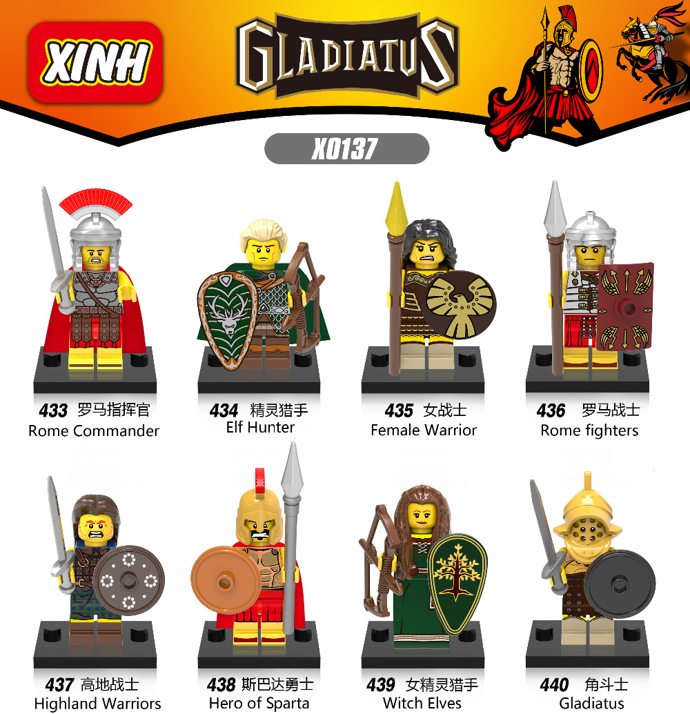 Gladiatus Medieval Knights Rome Fighters Commander Hero of Sparta Elf Hunter Warrior Highland Building Blocks Kids Toys X0137 1 leader 16pcs lot medieval knights xh645 crusader rome commander super hero building blocks toys children gifts x0164