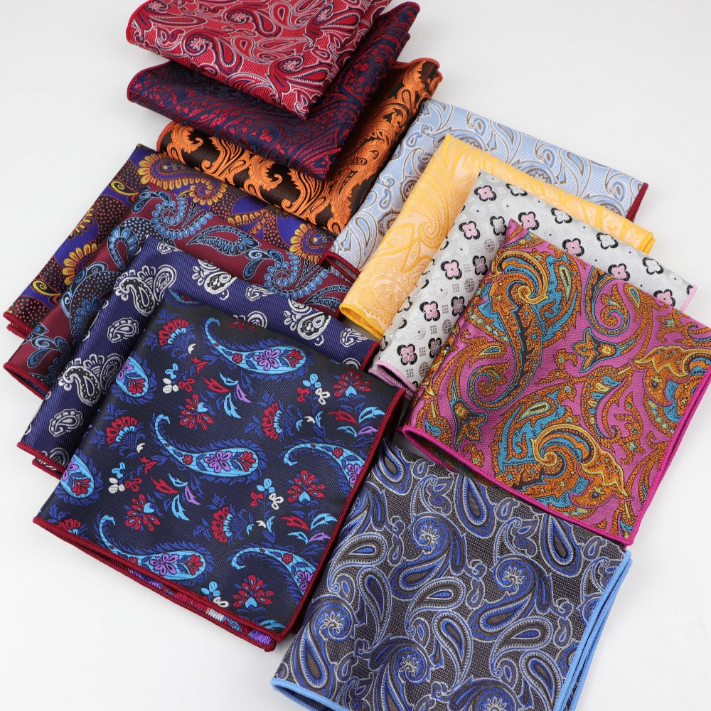 Paisley Hankerchief Polyester Scarves Vintage Fabric Of Business Suit Hankies Men's Pocket Square Handkerchiefs 26*26cm