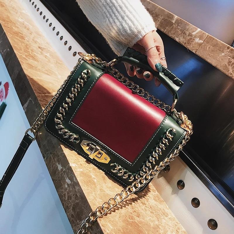 Mode Små Kvinnor Axelväskor Säckade Kedjor Läderväskor Gröna - Handväskor - Foto 2