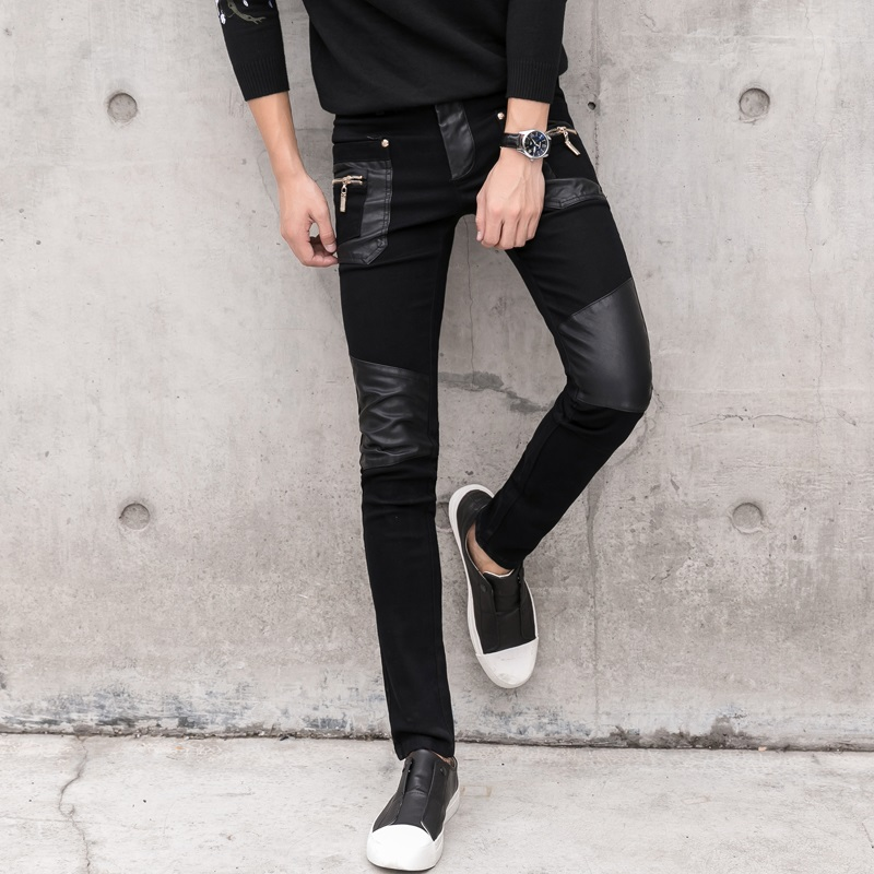 Fashion Men's Pant Faux Leather Jeans Spliced Denim Trousers Male Stretch Slim Fit Punk Stage Singer Motorcycle Casual Pants Men