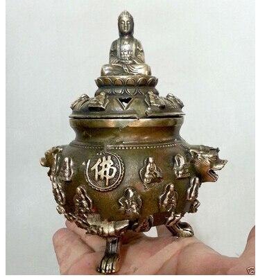 Art Bronze décoration artisanat en laiton bouddha Folk Statues chanceux brûleurs d'encens outils en cuivre décoration de mariage en laiton Bronze