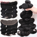 Fechamento malaio onda do corpo do cabelo humano encerramento lace closure malaisienne sew em weave pacotes com frontal