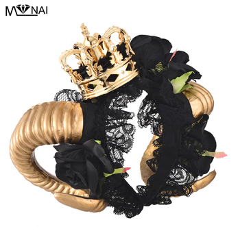 Lolita Ram Horns Headband Cosplay Fantasy Fancy Dress Sheep Goat Animal Black Rose Lace Crown Veil Headpieces Gothic Accessories 1