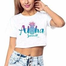 DongKing Aloha Hawaii Flower Crop Tee Shirt Fancy Print Women T Shirt White Summer Party Hot Sexy Tops Pineapple Holiday T Shirt