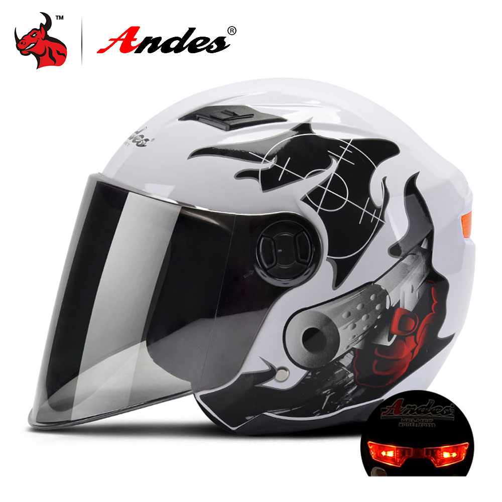 Andes Motorcycle Helmet 3/4 Open Face Moto Helmet Scooter Filp Up Lenses Motocross Helmet Casco Moto With LED Light trendy shaggy side bang long curly synthetic harajuku red mixed gold brown capless wig for women
