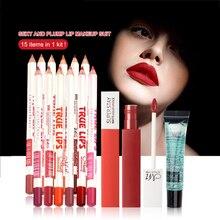 Косметика фирмы menow 15 шт. в 1 комплект 12 цветов водонепроницаемый карандаш для губ и 2 цвета матовая помада и макияж гель для удаления