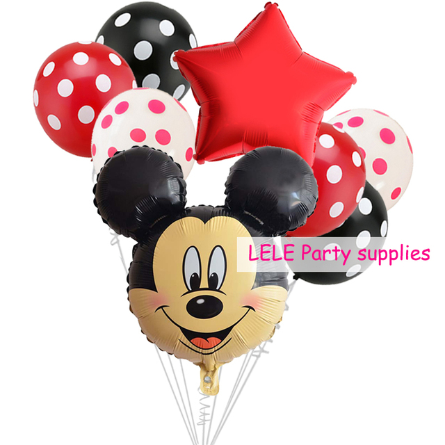 8pcs/set Minnie Mickey Mouse head Birthday Foil Balloons Decoration Cartoon Party supplies Ladybug Black Red Polka dot balloon