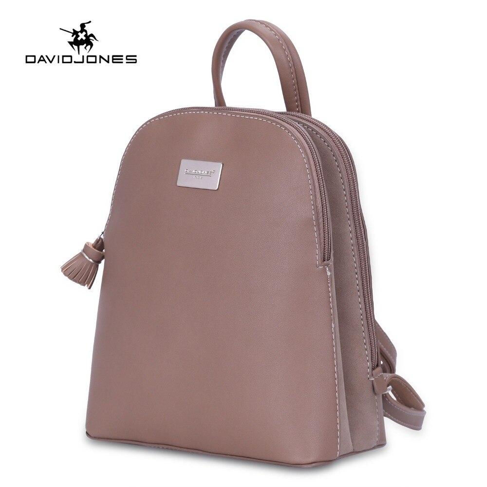 25e3fae56 DAVIDJONES mochilas de mujer de imitación de cuero bolsos de hombro para  mujer big lady solid softpack chica marca adolescente bolsa trasera Envío  Directo