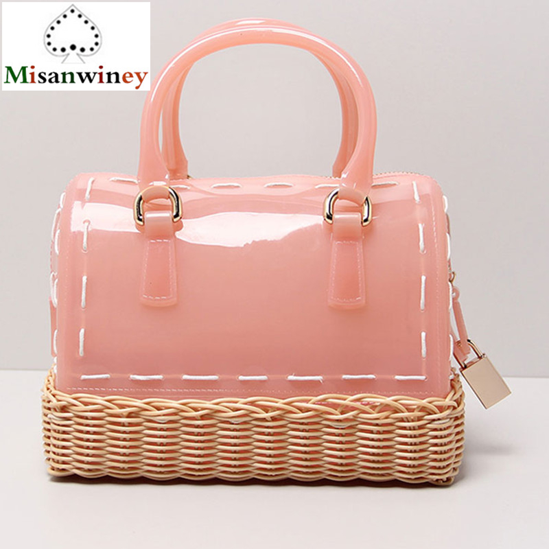 2018 Candy-colored Women Handbags Summer Beach Bag Pillow Shoulder Bags Handmade Basket Weaving Locks Jelly Tote Bags Sac A Main handmade flower appliques straw woven bulk bags trendy summer styles beach travel tote bags women beatiful handbags