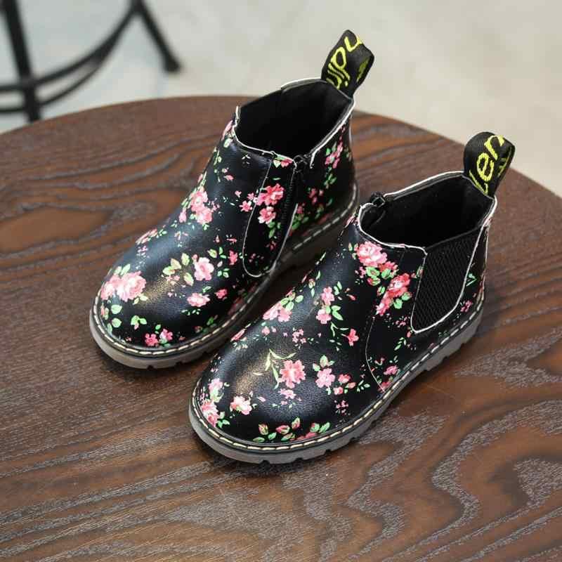 HaoChengJiaDe หญิง Martin Boots หญิง Botas Elegant ดอกไม้พิมพ์ PU หนังรองเท้าเด็กยาง Soled รองเท้าบูทยี่ห้อ Bottes
