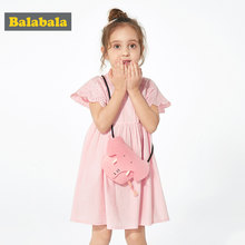 BalabalaChildren Dresses Kids Girl Short Sleeve Flower Print Cotton Linen floral Dress Baby Girl Summer dresses for girls(China)