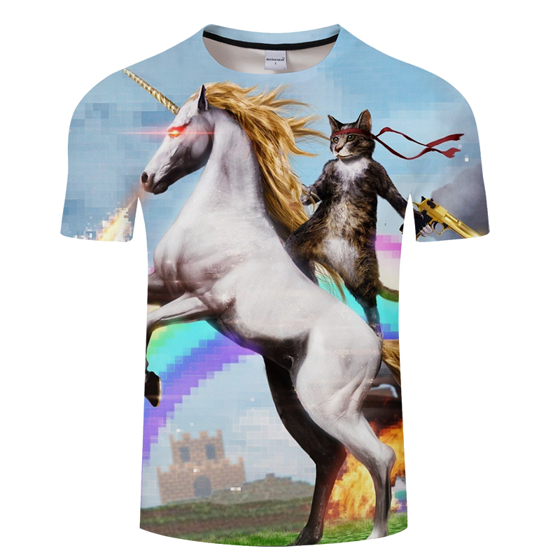 2018 3D printing Riding The horse A warrior Cat animal T-shirt fashion Men's clothing Round collar Cotton short sleeve