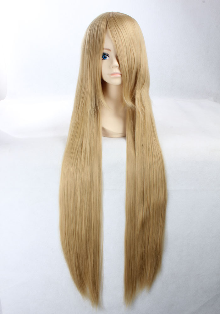 Quality Thick 100cm Long Straight Blonde Golden Wig