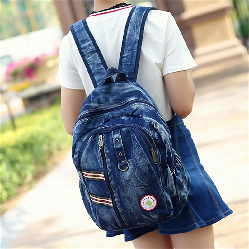 Fashion Women Backpack College Wind Retro wash denim Male and female backpack High Quality Travel Books