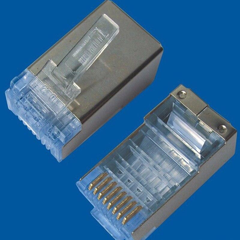 50pcs RJ45 Cat6 Cat6a Shield Shielding Network Connectors Plug Terminals for Modem Cable Network Adapter XXM