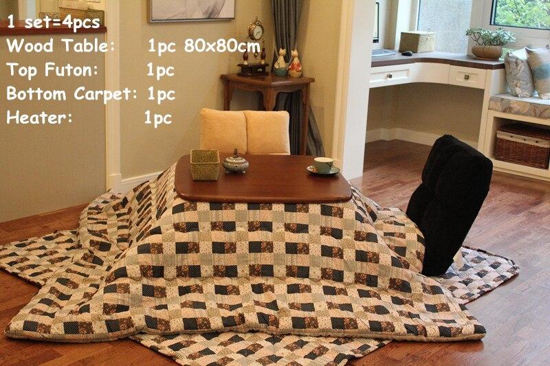 US $569.0 |(4 pz/set) stile giapponese Quadrato Kotatsu Set Da Tavolo Futon  Riscaldatore Mobili Soggiorno Basso Riscaldata Da Tavolo In Legno 80 cm ...