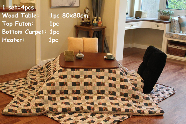 Japanese Living Room Set Denim Furniture 4pcs Style Square Kotatsu Table Futon Heater Low Heated Wood 80cm Walnut Finish