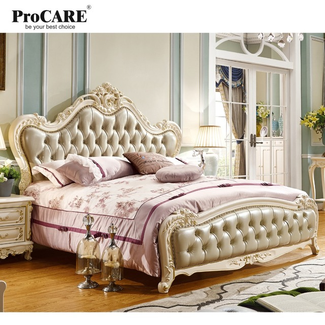 Luxury European and American style bedroom furniture King Size Solid ...