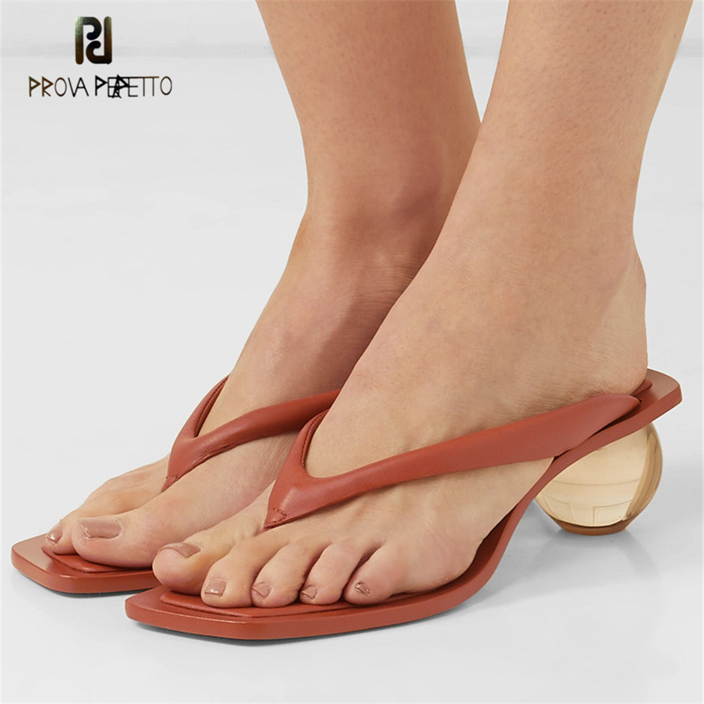 Prova Perfetto New Limpar Bola Salto Flip Flops Mulheres Chinelos Sexy Tanga Verão Slides Chanclas Mujer Praia Sapatos Sandales Femme