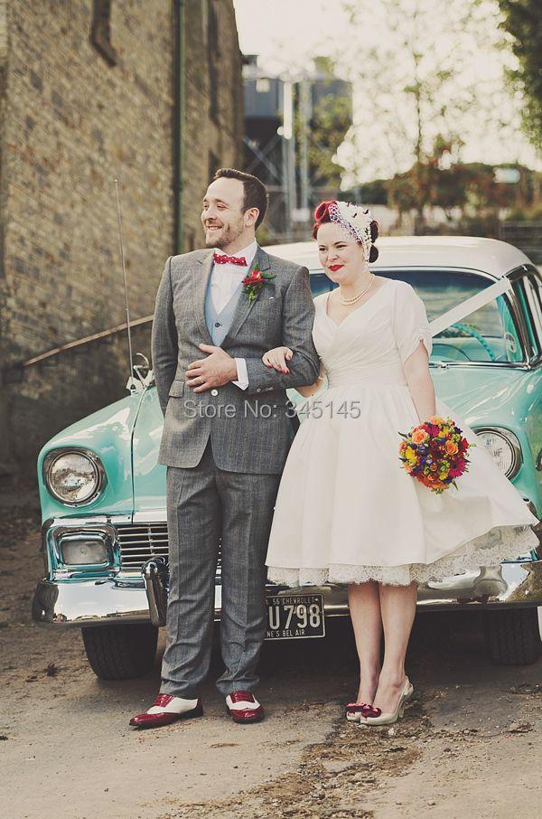 2017 vestido de noiva Short Sleeve V Neck Pleat Satin Tea Length Vintage Plus Size Short Wedding Dresses