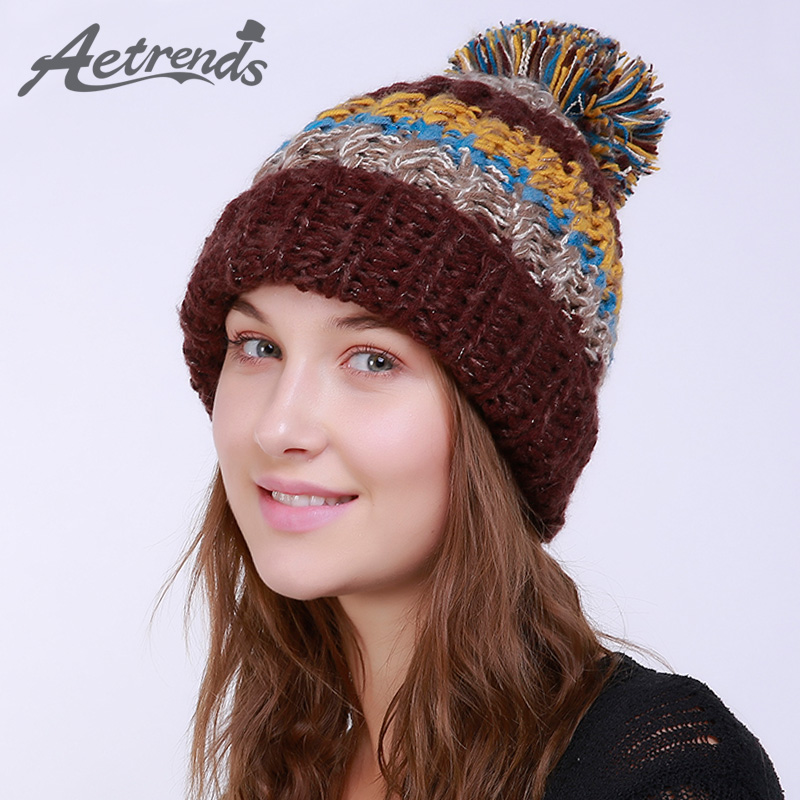 [AETRENDS] 2017 Winter Beanie Hats for Women Warm Knitted Female Caps Beanies Pompom with Top Ball Z-6001 2016 new beautiful colorful ball warm winter beanies women caps casual sweet knitted hats for women outdoor travel free shipping