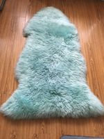 Single Pelt Real Sheepskin Rug Peacock Blue Color Australia Wool Rug Genuine Fur Rug For Bedroom