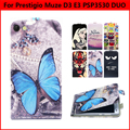"Fashion Flip Vertical Cartoon Print PU Leather Case For Prestigio Muze D3 E3 PSP3530 Phone Cases Back Cover 5.3"" Shell Bag,Gift"