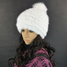 HM034 free shipping fashion winter hat knitted real mink fur many colors warm cap hot style white wholesales