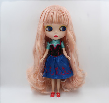 Blygirl,Blyth doll,Light pink bangs with curly hair, frosted surface, normal body, 7 joints, can be replaced