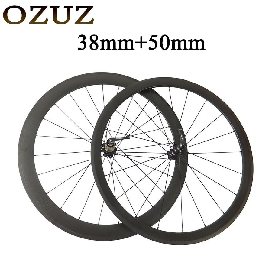 38mm front 50mm rear standard wheels v brake 3k cycling carbon wheels clincher tubular chinese 700c road wheelset 494 cnspoke цена