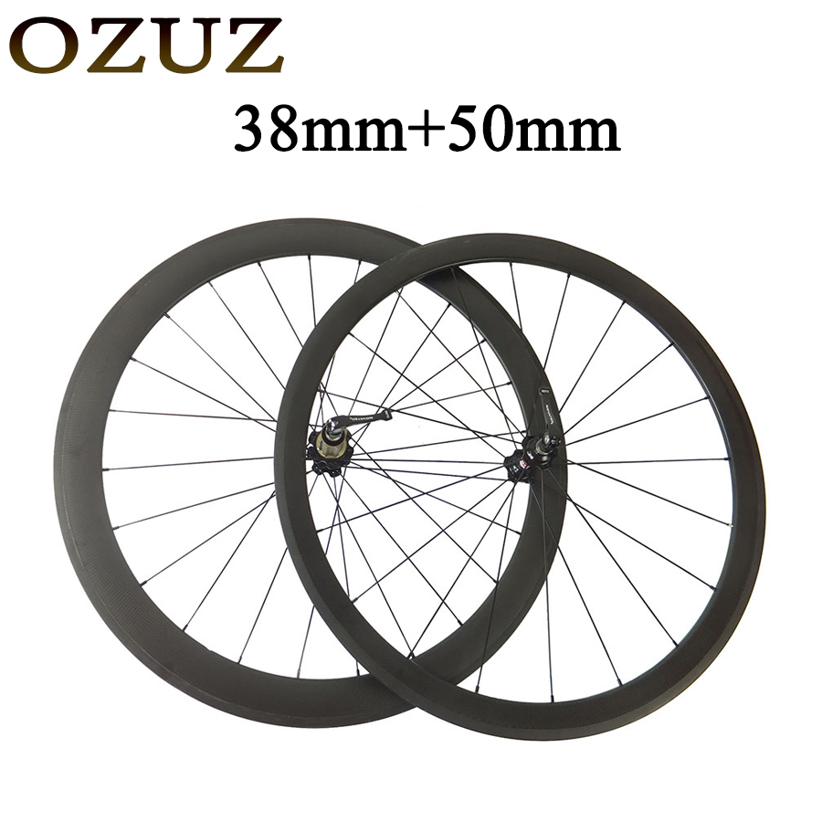 Factory Sales OZUZ Standard Wheels 38mm Front 50mm Rear Cycling Carbon Wheels Clincher Tubular Road Bike Carbon Wheel 700C